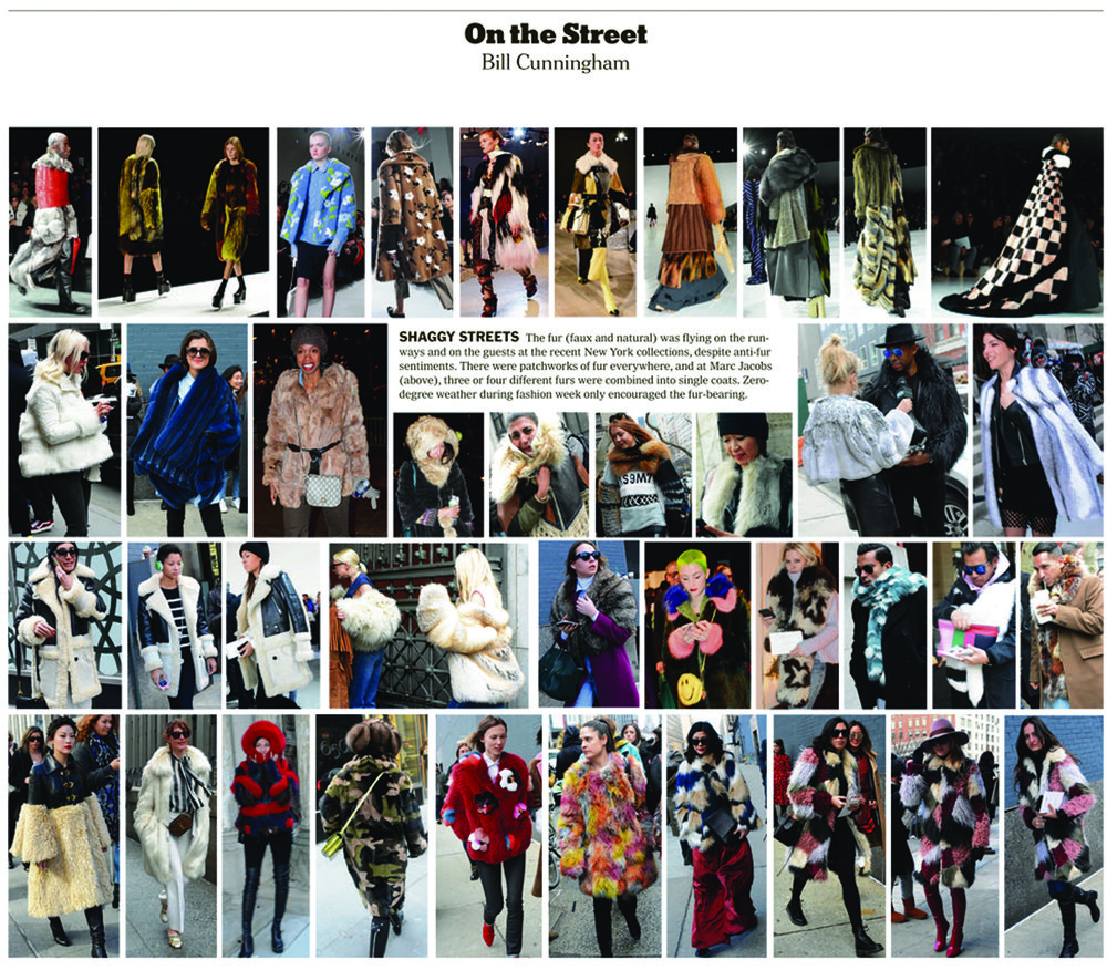 Bill Cunningham NYT Sunday Styles on the street NYFW Arden Cho actress kelsey randall coat faux fur