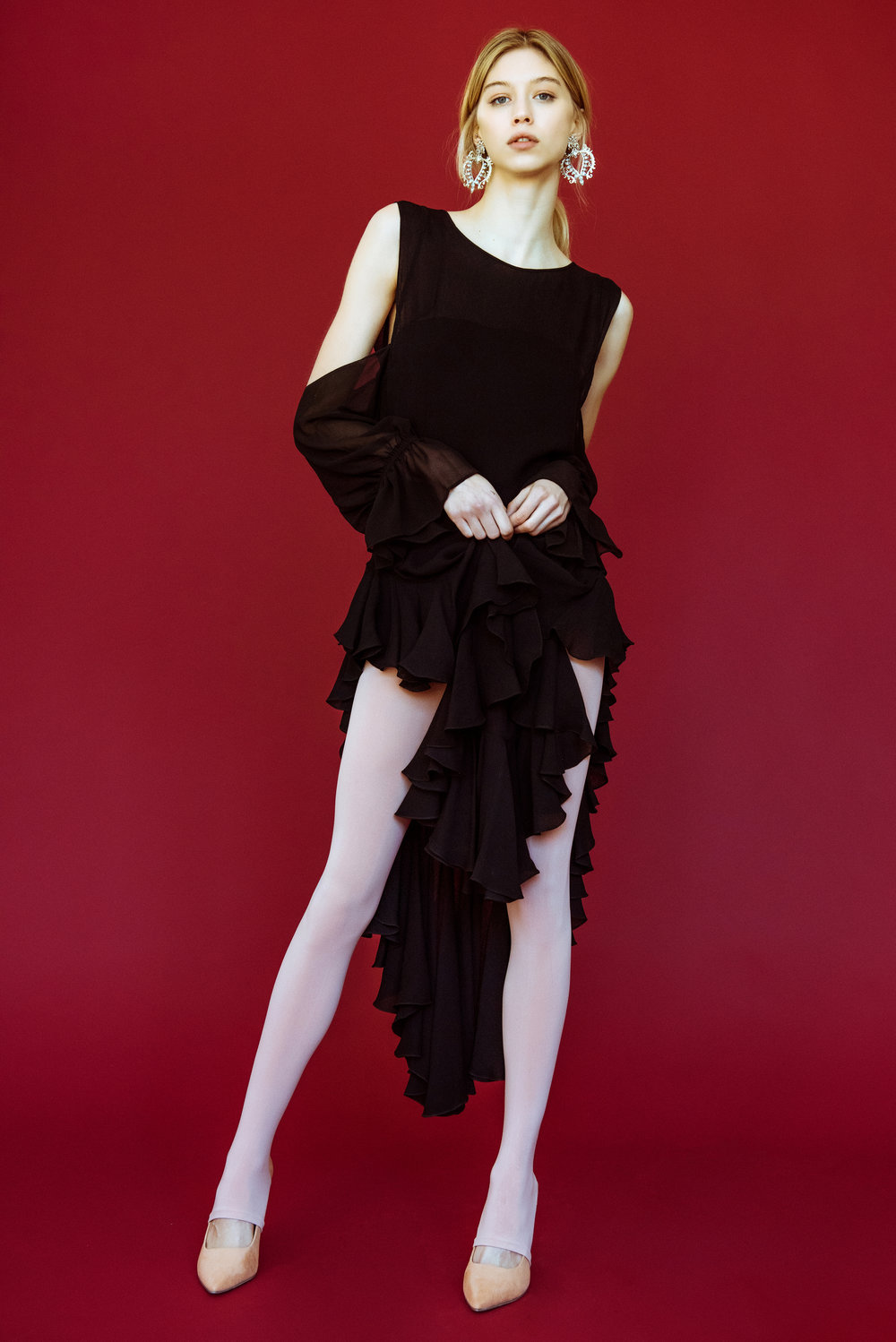Copy of kelsey randall emerging designer made-to-measure fashion editorial custom bespoke black silk chiffon crinkle double layer ruffle flounce hem high slit side sheer
