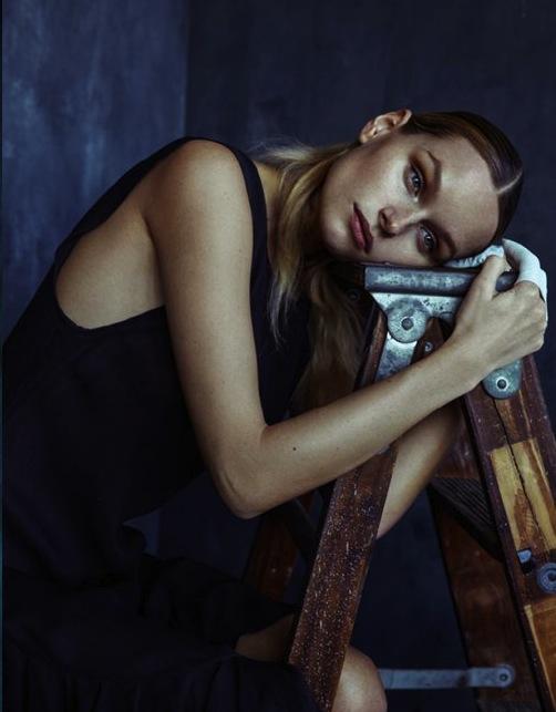 schon! magazine kelsey randall emerging designer made-to-measure fashion editorial custom bespoke black silk chiffon crinkle double layer ruffle flounce hem high slit side sheer