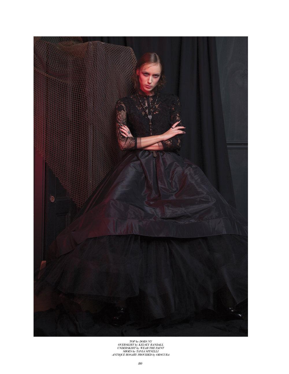 kelsey randall emerging designer made-to-measure fashion editorial custom bespoke black silk taffeta gown gathered waist wishbone racer back horsehair full skirt