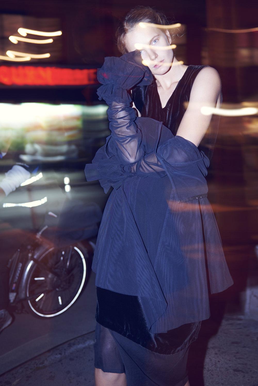 Copy of grayson hoffman kelsey randall night photo shoot les street style nightlife photography soho city bike black mesh sheer dress long sleeve