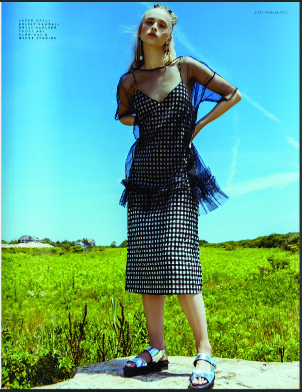syn magazine kelsey randall black tulle babydoll dress sheer baby doll short sleeve ruffle gem gingham check