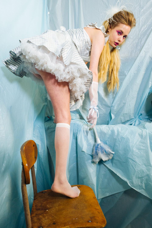kelsey randall gingham blue skater dress tulle ruffles