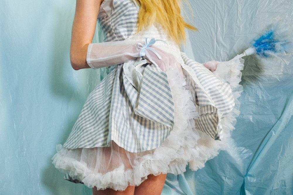 kelsey randall emerging designer made-to-measure fashion editorial custom bespoke gingham baby blue white silk check ruffle shoulder skater dress