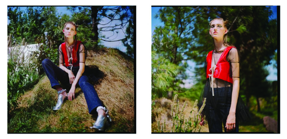 schon! magazine editorial kelsey randall black sheer tulle babydoll dress baby doll short sleeve ruffle hem jeans red vest