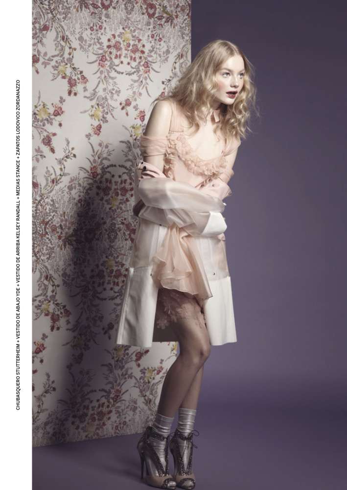 Neo2 magazine editorial kelsey randall peach silk organza cinderella dress ruffles flounce shoulder draper