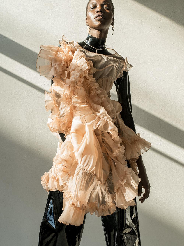 Copy of iris covet book fashion editorial kelsey randall peach silk organza mermaid seashell ruffle hem full skirt sheer dress