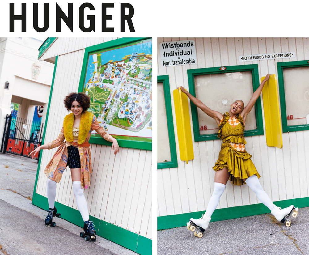 Hunger Magazine Coney Island summer rollerskates boardwalk fashion editorial shoot summer in the city feature Kelsey Randall warp woven silk taffeta floral print faux fur coatdress dress gold chartreuse yellow raw silk stantung ruffle cut-out mini dress made-to-measure made in New York City Brooklyn NYC Bushwick handcrafted emerging designer sustainable ethical PHOTOGRAPHY Franey Miller // STYLING Sam Bates // MODELS Kota at MSA and Seashell Coker // HAIR AND MAKE-UP Juliet Jane