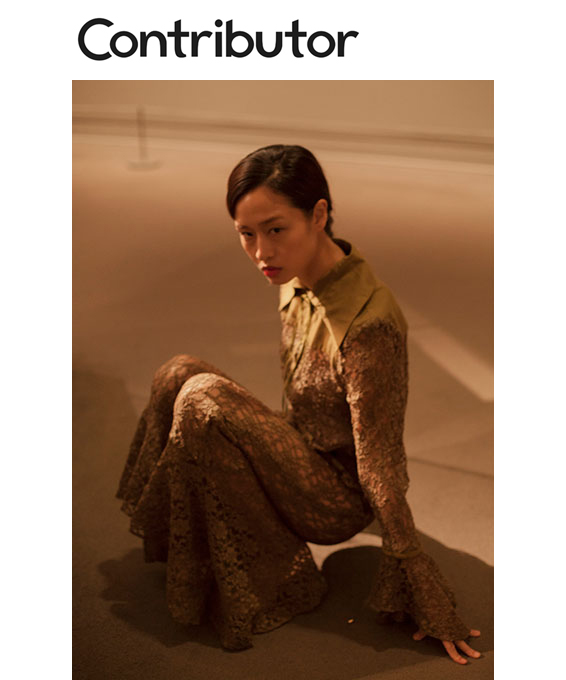 Contributor Magazine Fashion Editorial Met Museum olive green lace blouse flounce pant  Yolanda Y. Liou   Alicia Rodriguez Apricio   Yu Tsao  House Of NYC made in New York City Brooklyn Bushwick made-to-measure custom bespoke luxury womenswear