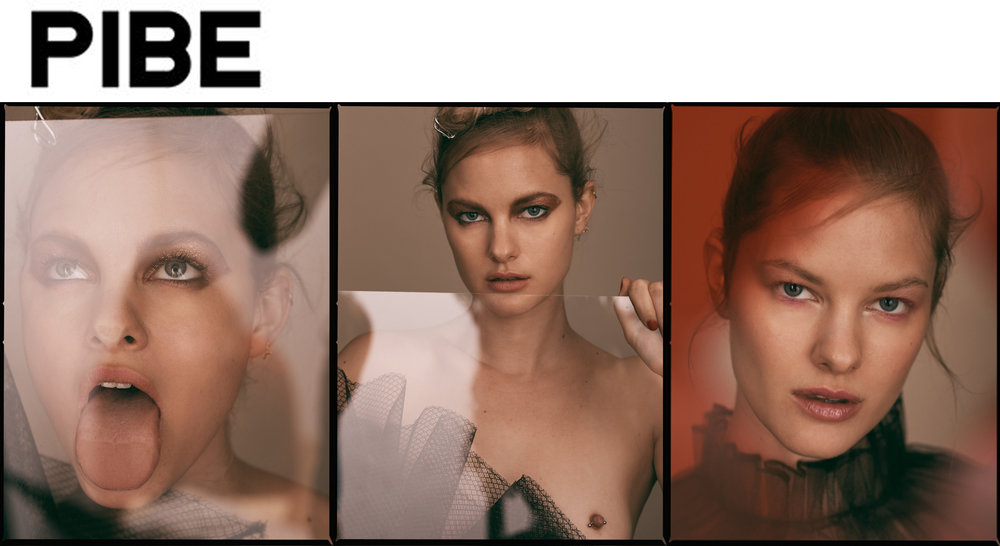 Pibe Magazine issue editorial feature black tulle dress top beauty styling Hannah Utah Mary Fix Heather Newberger Aliana Friesen Michael Chua Kelsey Randall luxury womenswear luxury fashion made-to-measure made in New York City NYC custom bespoke ruffles