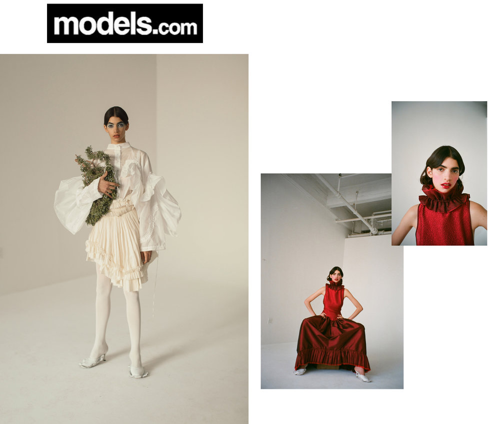 Models Models.com Editorial New Faces Irene Guarenas Harley Weir Wade Lee Hair APM Model Management  Franco Schicke  Jessica Wu Mariko Hirano Kelsey Randall bespoke muslin collection red silk taffeta gown ruffle dress neck ruff hammered organza made-to-measure luxury womeswear fashion