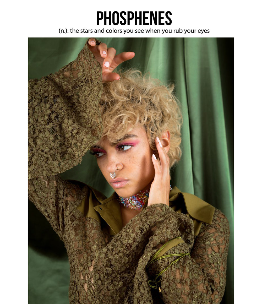 Phosphenes Magazine Fashion Editorial Featuring Kelsey Randall Olive Lace Cotton Blouse Made iN New York City Pink Eyeshadow
