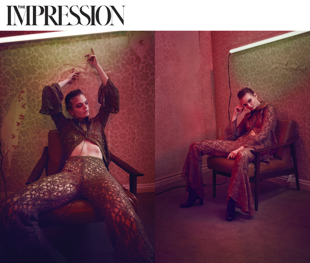 The Impression Magazine Editorial featuring Kelsey Randall Moody Lace Pants Lace Blouse Fashion Made In New York City