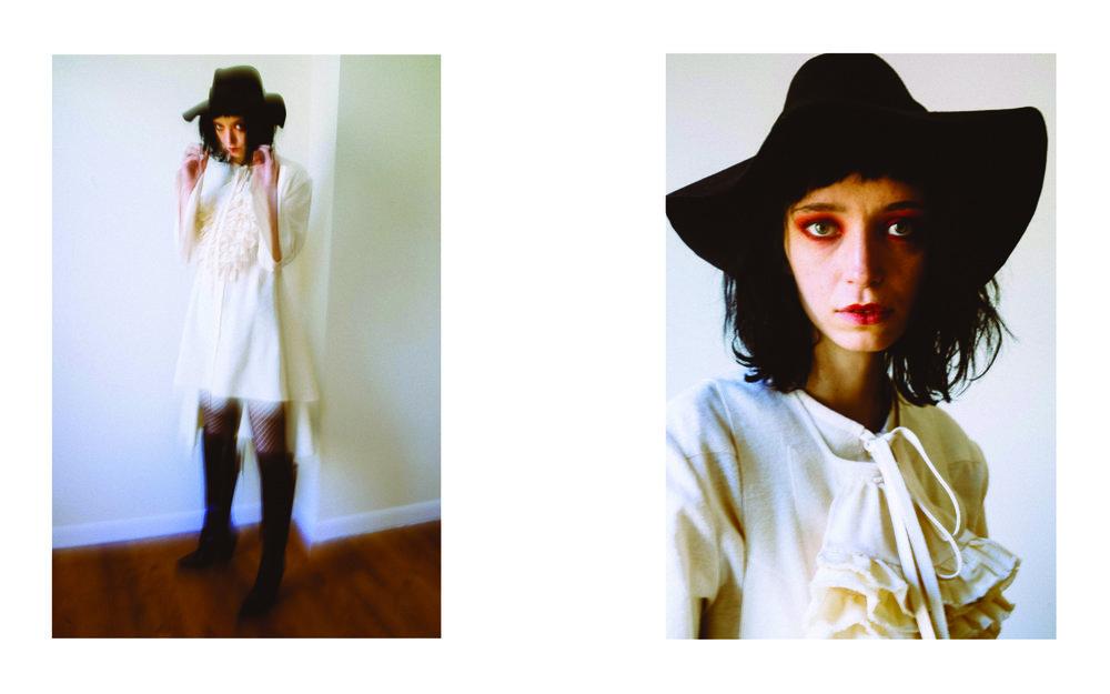 kelsey randall cream muslin flannel cotton ruffle dickie top bib crop tie blouse shirt dress button down bustle back high-low hem wide cuff black hat