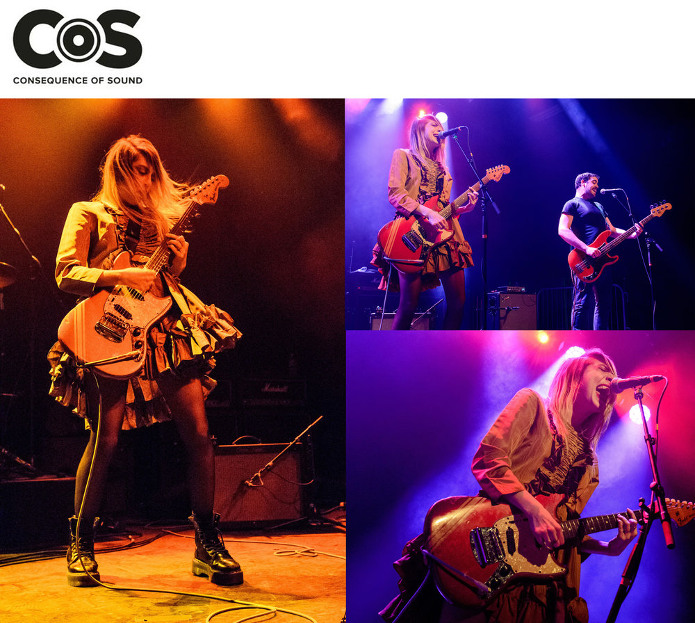 Kelsey Randall Eva Hendricks Charly Bliss band concert brooklyn steel live show photos gold silk moire ruffle baby doll dress long sleeve stage lighting guitar blonde rockn'roll pop music fashion  dreamy demi-couture womenswear crafted in nyc  for future icons, rock stars, and goddesses  made-to-measure bespoke handcrafted custom bridal  made in NYC brooklyn bushwick new york city  sustainable ethical diverse boss lady
