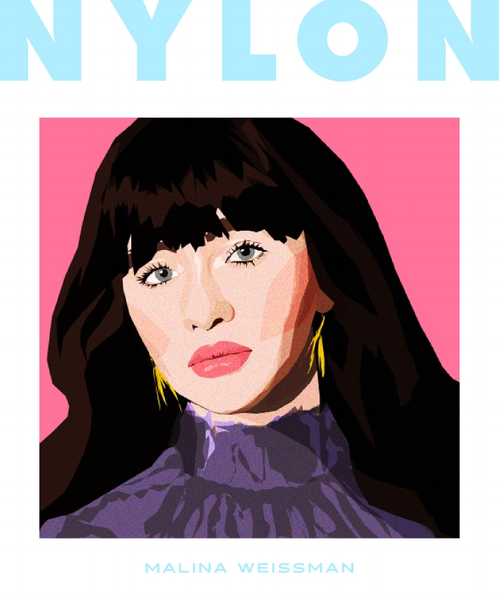 Nylon Magazine cover may 2018 malina weissman ILLUSTRATED BY  MONICA AHANONU  kelsey randall black tulle dress purple painting drawing actress the unfortunates netflix made-to-measure specialty designer luxury fashion emerging designers ethical sustainable custom unique