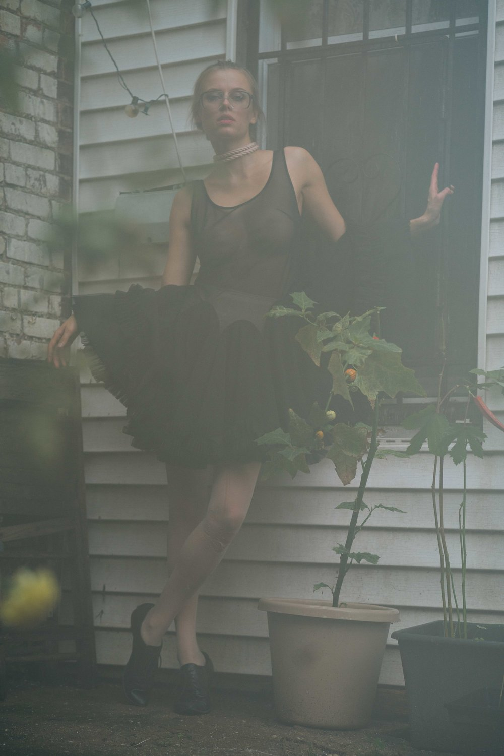 Copy of Spencer Ostrander Olga De Mar Kelsey Randall black mesh crinoline skirt godet dress sheer thin strap ruffle hem