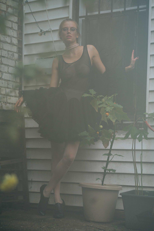 Spencer Ostrander Olga De Mar Kelsey Randall black mesh crinoline skirt godet dress sheer thin strap ruffle hem
