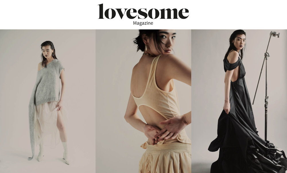 Lovesome Magazine editorial  Photography   Geoff Leung   Styling   Christina Hsu & Sirena Kuo   Hair   Yukie Nammori   Make-up   Seiya Iibuchi   Model  Siqi Chen @  Wilhelmina   wearing kelsey randall ph5 silk organza sheer tear drop dress, peach mesh leotard body suit skirt matching elastic waist open back, midnight navy blue black gown swag drape shoulder wishbone racer back parachust shirt bustle ruffle hem   Kelsey Randall    dreamy demi-couture womenswear crafted in nyc    for future icons, rock stars, and goddesses    made-to-measure bespoke handcrafted custom bridal    made in NYC brooklyn bushwick new york city    sustainable ethical diverse boss lady werk