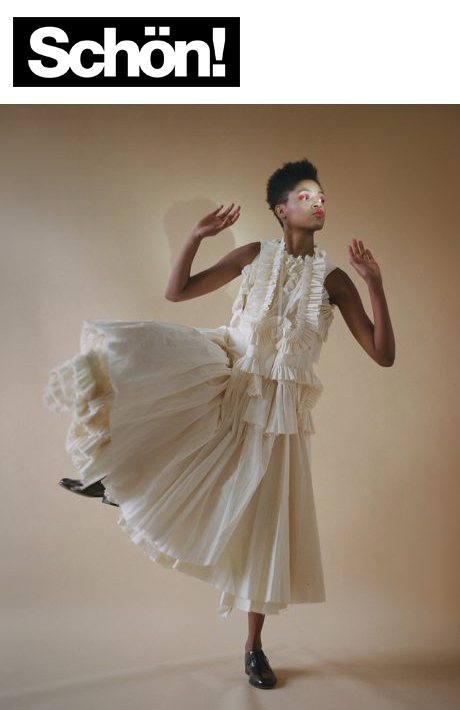 schon! magazine praying mantis featuring kelsey randall ruffled layered pleated overlay bustier corset ties strings muslin dress Photographer  Lena Shkoda  captures a glimpse of smooth movements in this Schön! online editorial. Fashion by  Britt Layton  sees model  Dominique Brannon  clad in fringe and flower patterned pieces by Tibi and Belstaff. Hair and makeup by  Mariko Tamegai  sum up the scene in a colourful look.   Kelsey Randall    dreamy demi-couture womenswear crafted in nyc    for future icons, rock stars, and goddesses    made-to-measure bespoke handcrafted custom bridal    made in NYC brooklyn bushwick new york city    sustainable ethical diverse boss lady werk