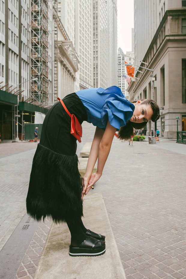 design scene fashion editorial featuring kelsey randall black suede and faux fur skirt