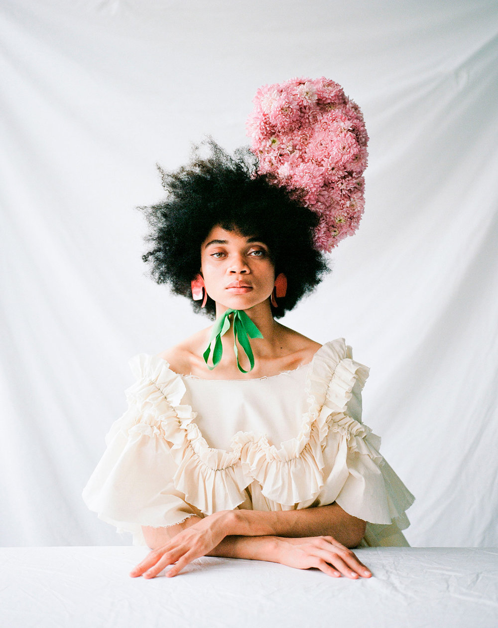 teeth magazine fashion editorial featuring kelsey randall muslin ruffle angel dress