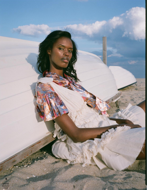 salyse magazine fashion editorial featuring kelsey randall floral silk lamé tie neck dress