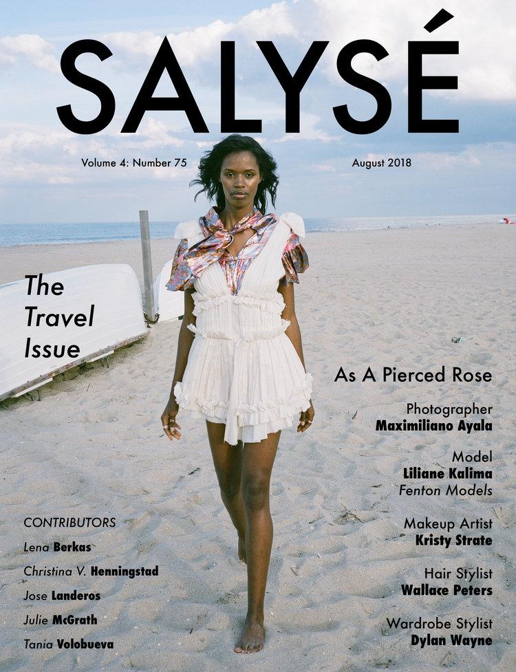salysé magazine fashion editorial featuring kelsey randall floral silk lamé tie neck dress