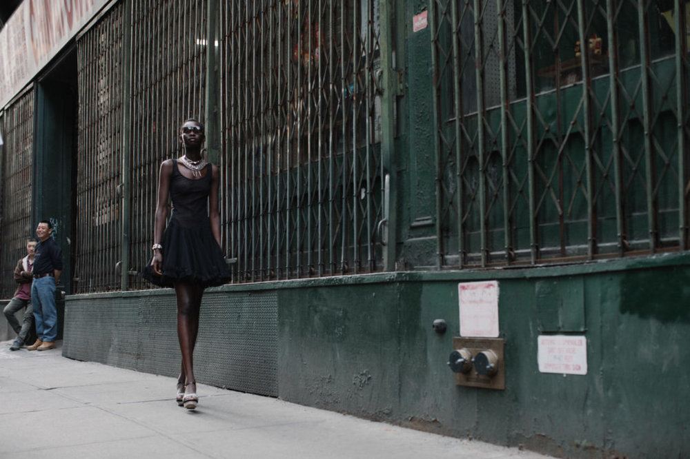 hunger magazine fashion editorial featuring kelsey randall black mesh crinoline ruffle tutu dress