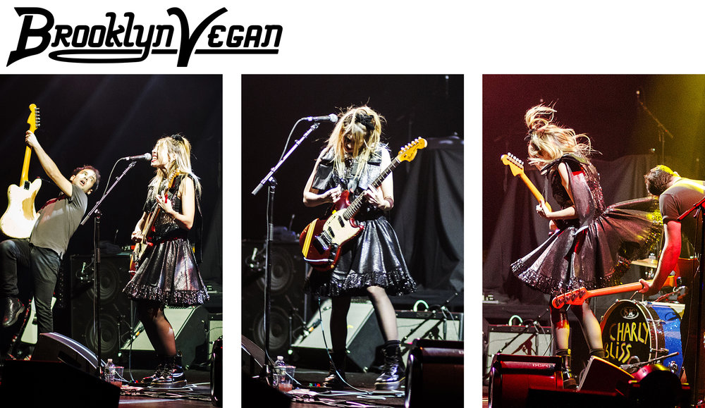 Charly Bliss lead singer eva hendricks wears kelsey randall black rulle and sequin bow shoulder party dress playing night 2 of their sold out kings theater run with death cab for cutie brooklynvegan
