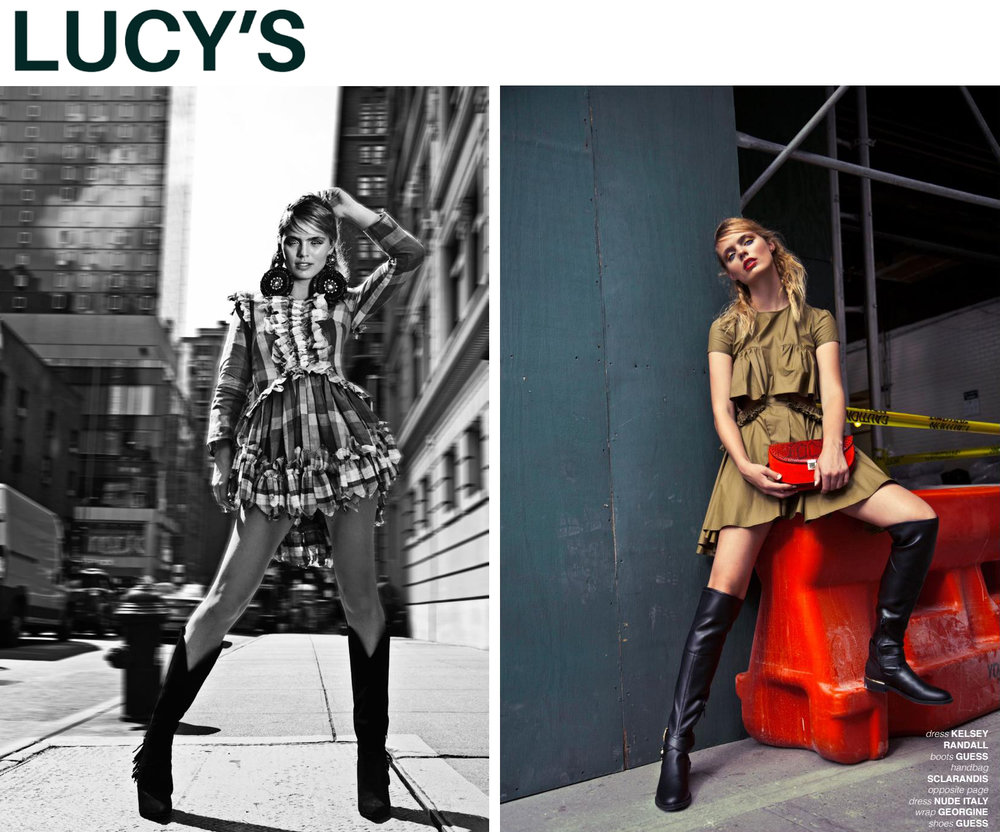 Lucy's magazine issue 39 fashion editorial featuring Kelsey Randall plaid linen ruffle dress and olive waxed cotton dress with cut outs