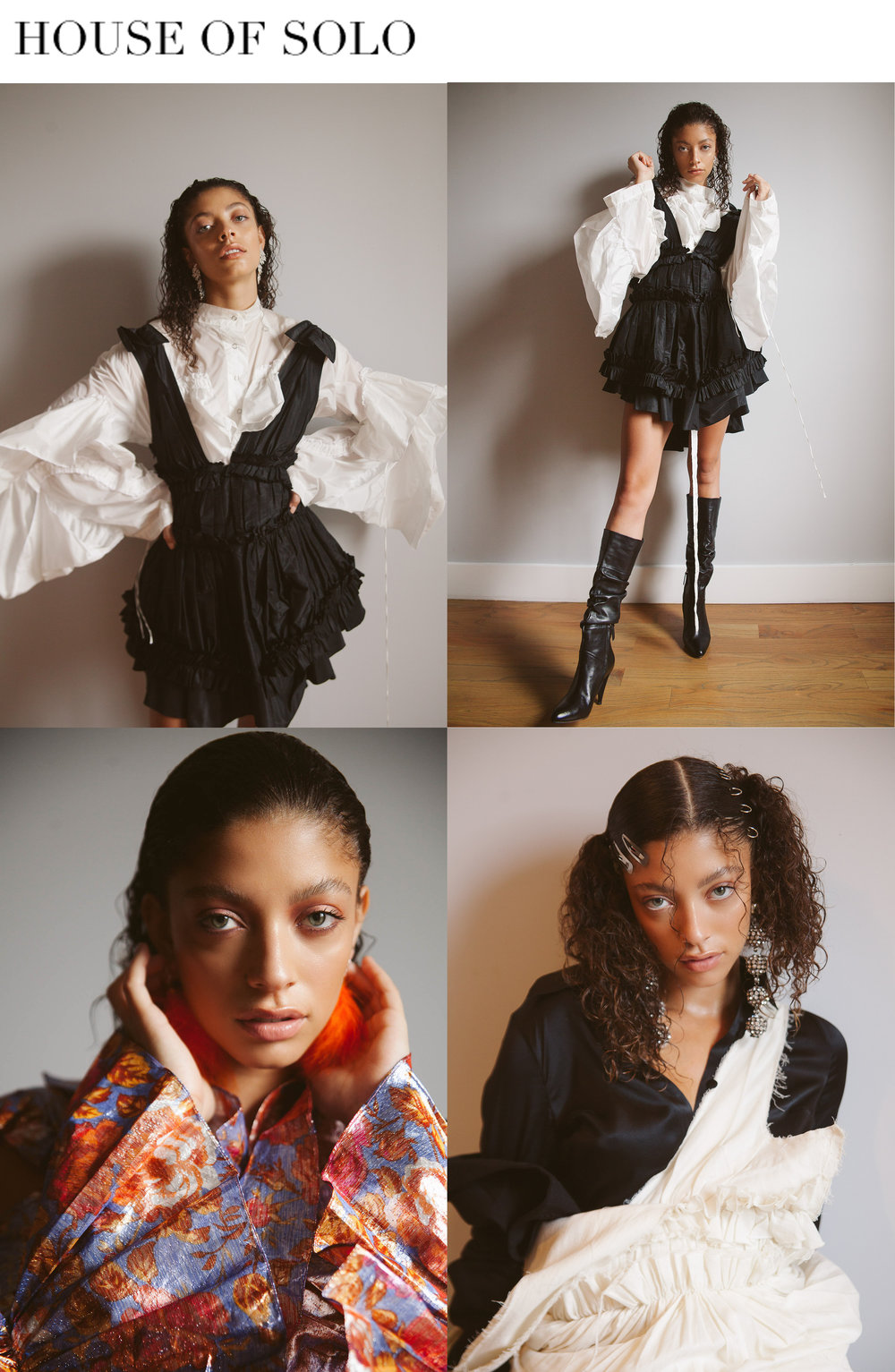 house of solo fashion editorial featuring kelsey randall black silk taffeta gathered ruffle mini jumper dress, floral silk ruffle sleeve cold shoulder blouse and muslin dress   Photographer: Katie Borrazzo // www.katieborrazzo.com // @katieborrazzo  Model: Camryn Herold @ Elite // @camrynherold  Stylist: Kingsley Osuji // www.kingsleyosuji.com // @kingsley_nyc  Hair: Payton Holbrook using Oribe @ Pazzion Salon NYC // @boytoy9  Makeup artist: Mariz Mikhail // @mariz.mik