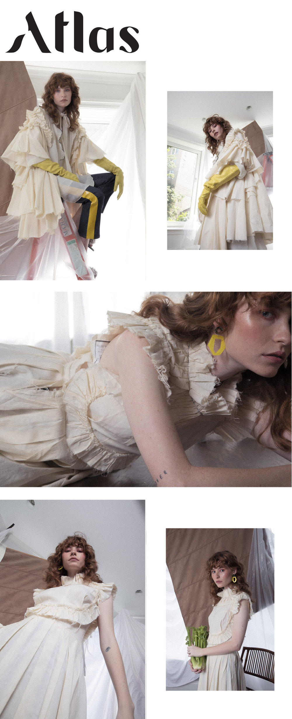 atlas magazine fashion editorial featuring kelsey randall muslin dresses  Photographer / Coni Tarallo @coni.tarallo Art Director/ Ani Bergero @anibergero Stylist / Barbara Velez @barbbvelez MUA / Claudia Oyanedel @claudiaoyanedel Hair Stylist / Serina Takei Model / Allison Ponthier @allisonponthier for Click Model NY