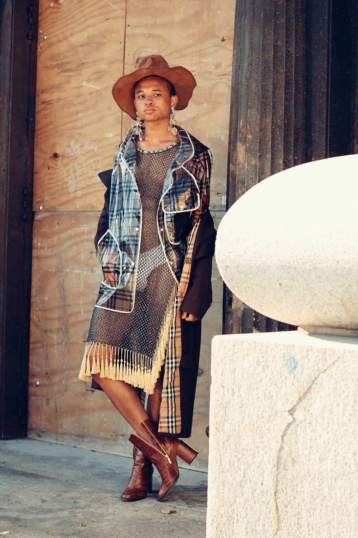 FGUK Magazine gender neutral gender fluid fashion editorial featuring kelsey randall navy lurex fishnet and gold tassel chain dress