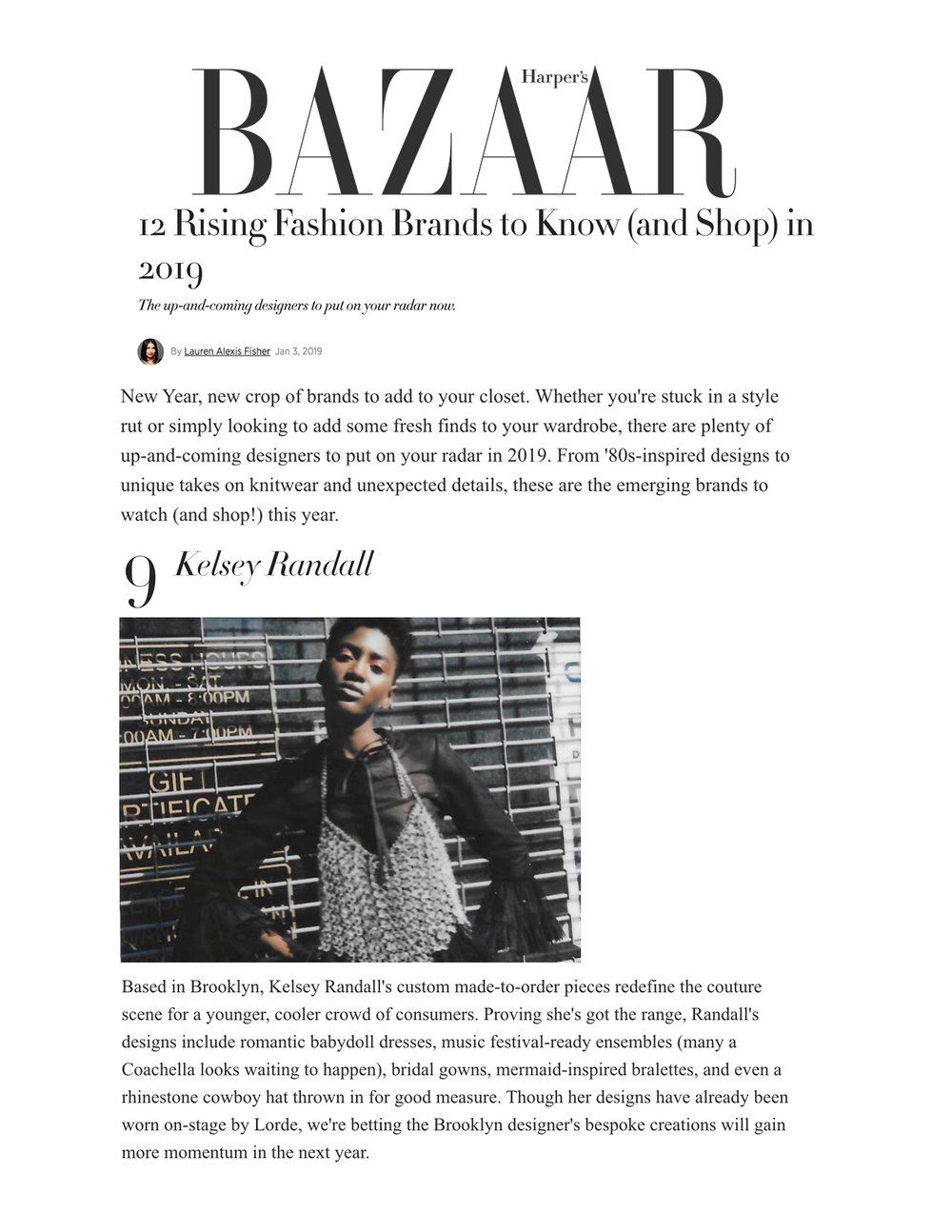 Harper's Bazaar January 2019 feature 12 designers to watch in 2019 fashion rising stars up-and-coming ones to watch emerging designer best new designers kelsey randall bespoke custom made-to-measure couture demi-couture choachella mermaid bridal rhinestone cowboy hat crystal chainmail