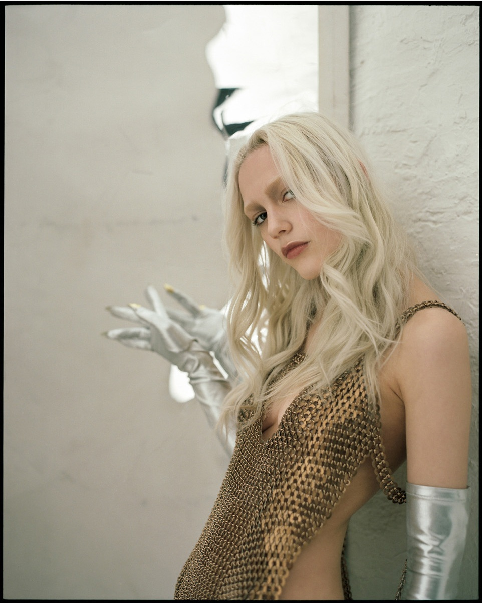 nasty magazine fashion editorial featuring kelsey randall bronze chainmail metal dress