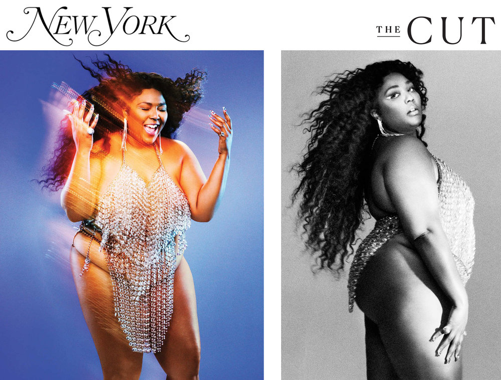 New York Magazine NY Mag The Cut Spring 2019 fashion issue featuring Lizzo flute singer rapper wearing kelsey randall crystal chailmail halter and skirt. Photographs by  Pari Dukovic   Styling by  Rebecca Ramsey   Hair by  Shelby Swain   Makeup by  Ralph Siciliano  at The Wall Group using Marc Jacobs Beauty  Nails by  Mei Kawajiri    yas bitch yes
