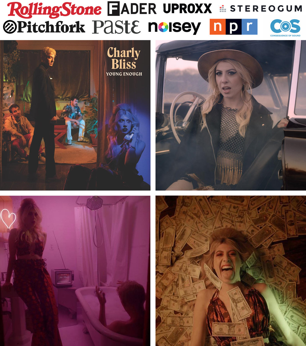 Charly Bliss Capacity music video styled by Kelsey Randall Eva Hendricks wears new looks kelsey randall floral silk pants matching top set, navy lurex fishnet fringe gold chain top and matching skirt. video directed by japanese breakfast michelle zauner