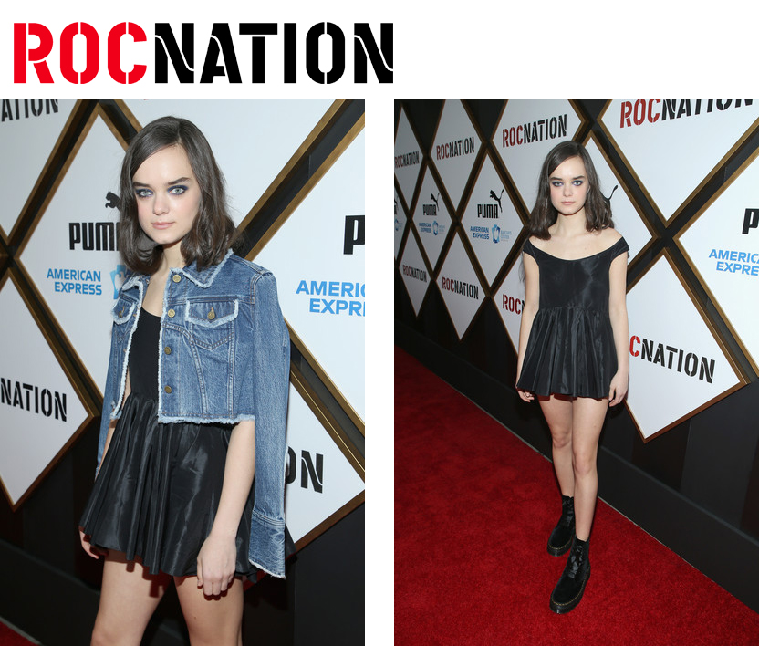 Callie Reiff on the red carpet of the Roc Nation pre-Grammy brunch wearing Kelsey Randall black silk taffeta mini dress styled by annebet duval
