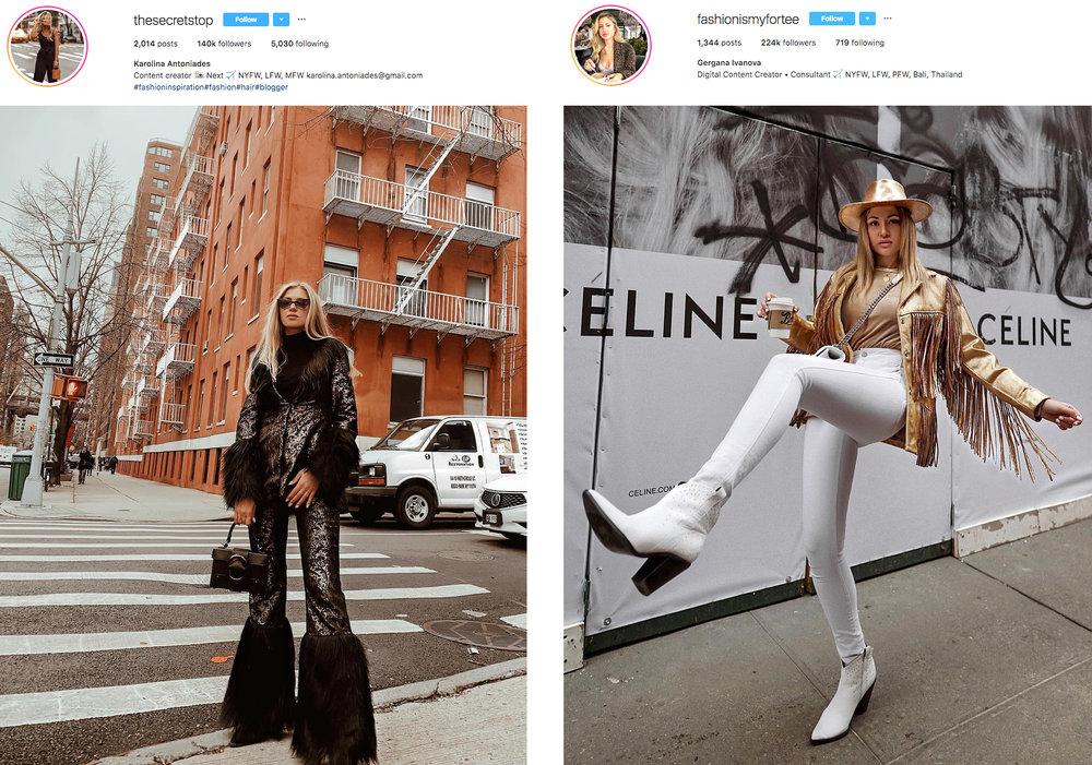 instagram influencers stars content insta famous thesecretstop and fashionismyfortee wear kelsey randall at nyfw fall 19 february 2019 jacquard and faux fur suit jacket and pants and gold glitter painted fringe leather one of a kind jacket and gold gambler hat
