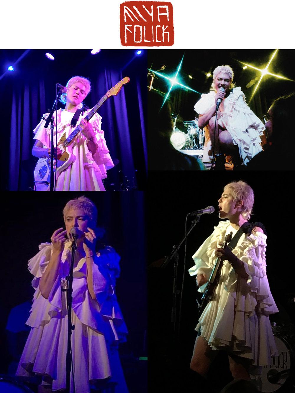 Miya Folick plays Elsewhere concert bushwick brooklyn nyc march 2nd 2019 wearing kelsey randall cream white flannel ruffle angel dress interscope records premonition tour