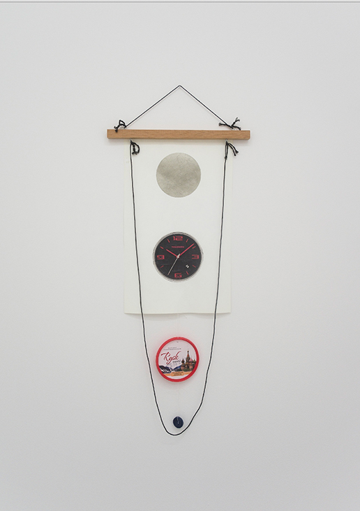 B. Wurtz, Untitled (Clock), 2012-13, Wood, string, thread, Tyvek, acrylic paint, collage, button and screw eyes, 90.2 x 33.7 cm