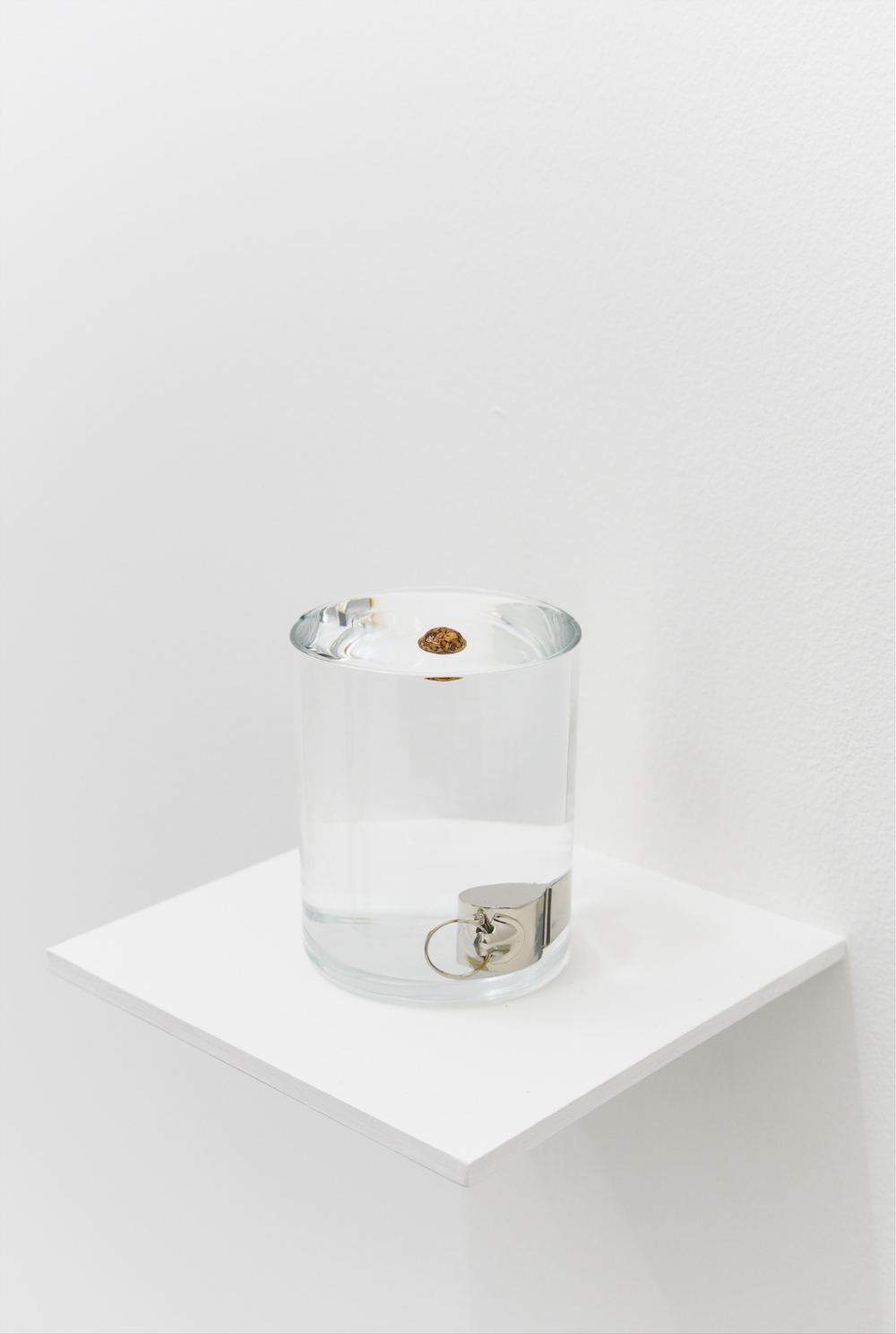 Zarauhie Abdalian, Buoy, 2014, Whistle, cork ball, glass, water, 9.2 x 7.3cm