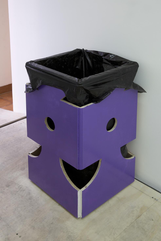"Manfred Pernice, Vita Activa, 2016 Fiberboard, paint, garbage bag, garbage 43.2cm x 43.2cm x 80cm (17"" x 17"" x 2'7 1⁄2"")"