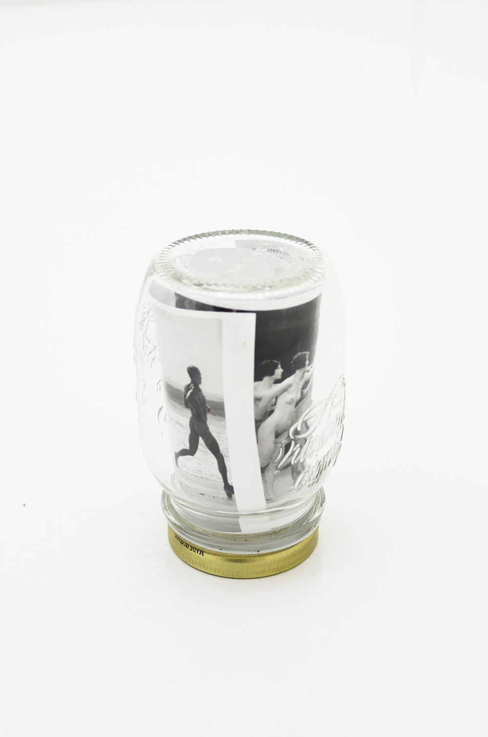 The Recipe (Four Seasons), 2010, jar and postcards, 14 x 9 diam