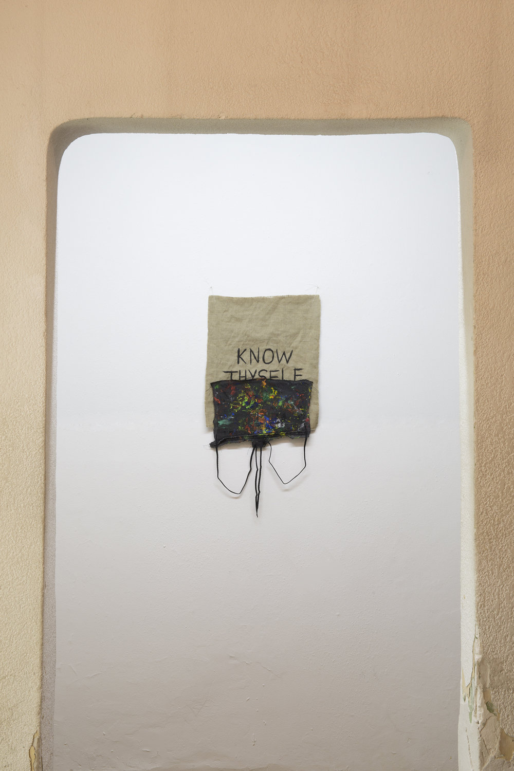 Untitled (Know Thyself), 2015. Acrylic paint on linen and cloth, shoelaces, and thread, 69 x 34.5 cm (27 x 13.5 in)