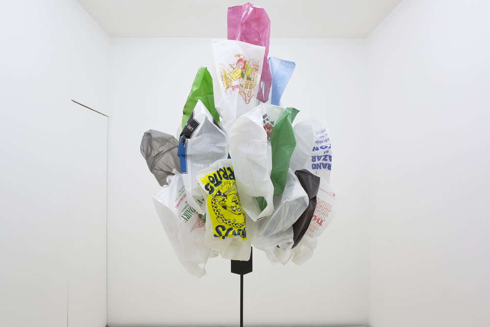 Bunch #4, 1996, Metal, wood, wire, enamel paint, plastic bags, ca. 250 cm high