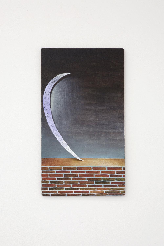 Santiago de Paoli, Luna sola, 2017. Óleo en madera, 19 x 35 cm (7.5 x 14 in.)