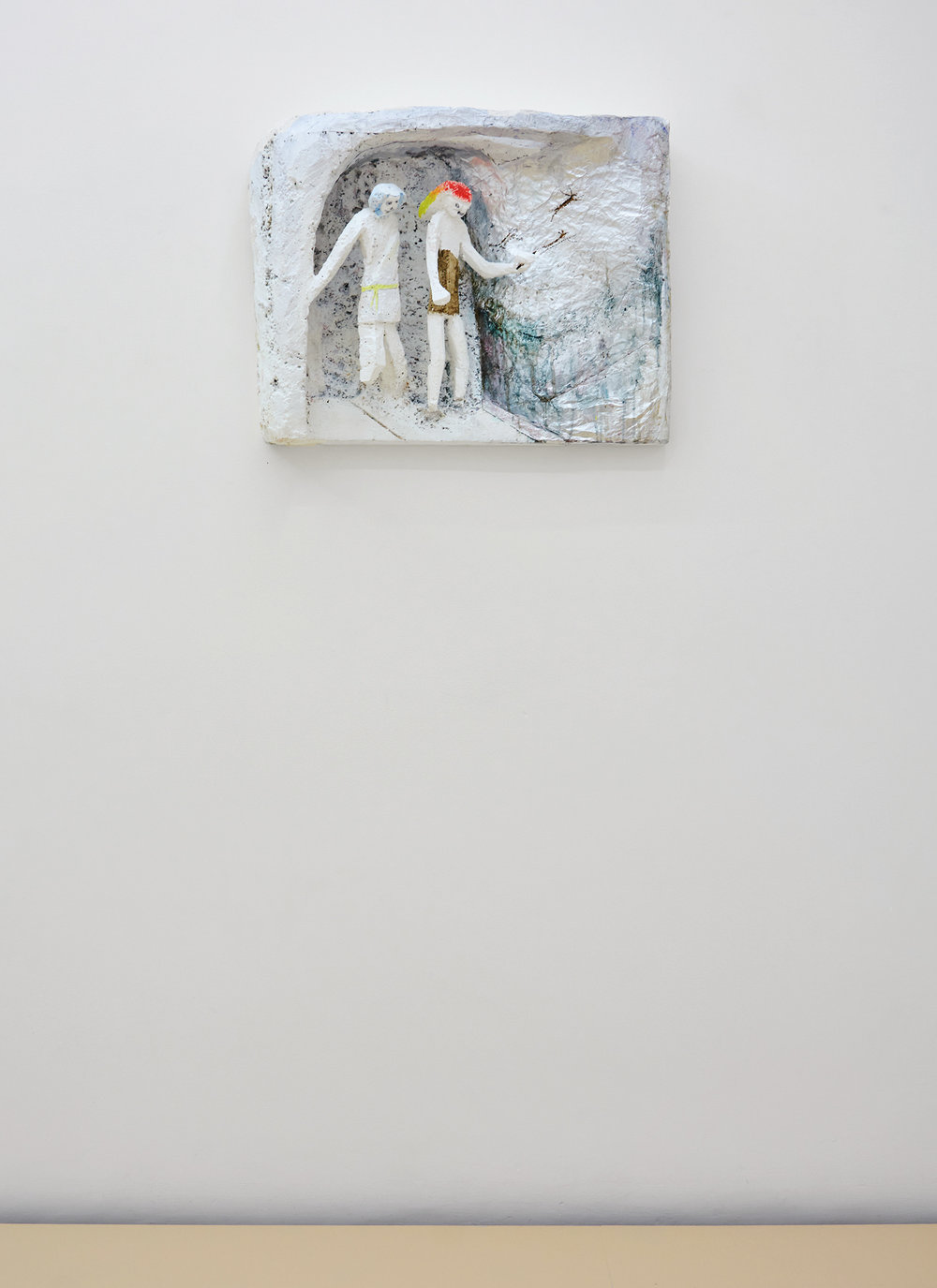 Lin May Saeed, Freundschaft/Friendship relief, 2010. Styrofoam, acrylic paint, foil, 45 x 57 x 15,5 cm