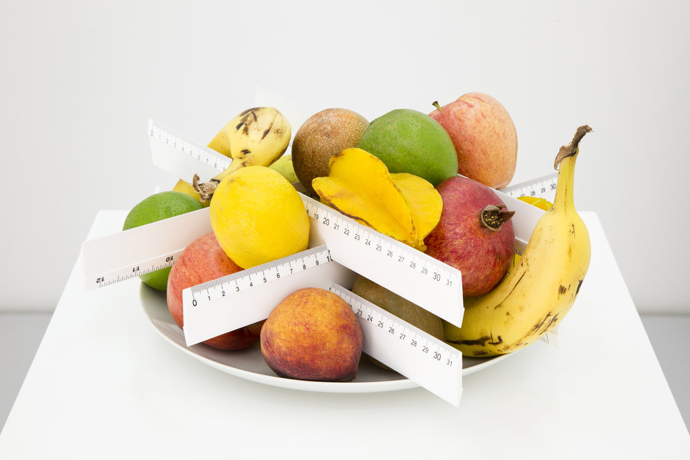 Gabriel Sierra, Untitled (Support for mathematics lesson), 2007. Fruit, ceramic plate and rulers, dimensions variable.